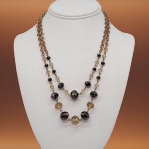 Necklace - Chocolate & Champagne Beads in Gold